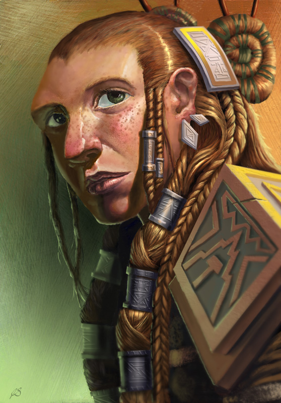 Female dwarf with green eyes and braided red hair.